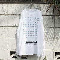 """100人のキスのロンT"" 100 kisses Long sleeve-T of Blue hand printed"