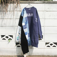 """紺色のトレーナードレス 2.0"" Navy Blue Dress of rebuilded from vintage sweatshirts and denim"