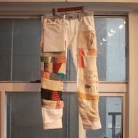 いつかのニット・セーターと後付ポケットのつぎはぎデニムパンツ / nisai