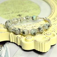 アイスミントグラニット8ミリ、透かし金具、ロンデル金具、メタルビーズ
