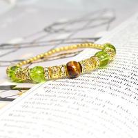 タイガーアイ8ミリ、クラック水晶(ペリドットカラー)8ミリ、ロンデル金具、透かし金具