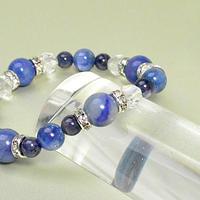 ブルーアベンチュリン ブラジル産カイヤナイトAAAAA サファイア カット水晶  ブレスレット