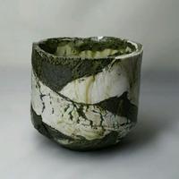 灰釉茶碗 銘「深緑」 Tea bowl   (H9.3 W9.6 cm)