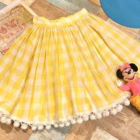 Pastel Yellow Gingham Check Skirt
