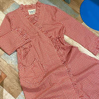 Gingham Check Dress Red