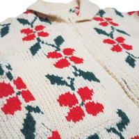 1970's vintage knit  珍しい花柄  実寸(L)