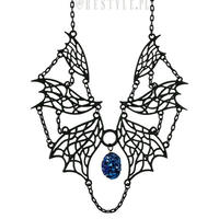 RE-1463 Evilish necklace with blue crystal<BLK>