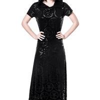 K-DRS-F-1866  Baphomet Maxi Dress  <BLK>