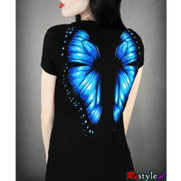 RE-0022 V-neck T-shirt blue butterfly<BLK/各サイズ>