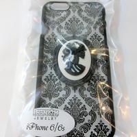 ダマスク iPhoneケース <ブラック骸骨婦人/各サイズ>