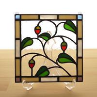 ステンドグラス ミニパネル 赤い実 15cm