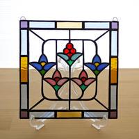 ステンドグラス ミニパネル 花模様 15cm