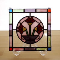 ステンドグラス ミニパネル フラワーベース 15cm