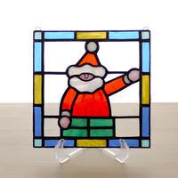ステンドグラス ミニパネル サンタクロース 15cm