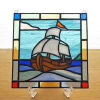 ステンドグラス ミニパネル 帆船C 15cm