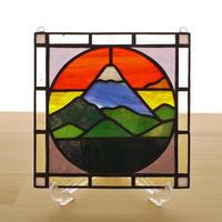 ステンドグラス ミニパネル 夜明けの富士 15cm