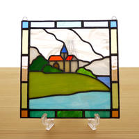 ステンドグラス ミニパネル 海の見える丘b 15cm
