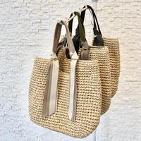 リボン付き手編みトートバッグ