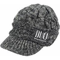 DUO刺繍ツバ付きニットキャップ ブラック/グレー