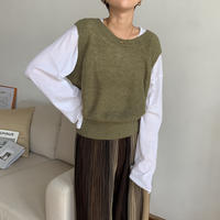 《予約販売》soft round knit vest/2colors_nt0577