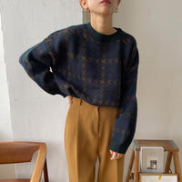 《予約販売》hound tooth rétro knit/2colors_nt0716