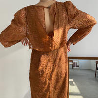 【nokcha original】jacquard sheer dress/camel_nd0092