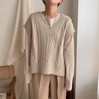 ✳︎予約販売✳︎soft cable knit vest/2colors_nt0298