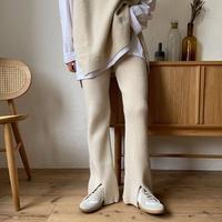 《予約販売》quality knit slit pants/2colors_np0334