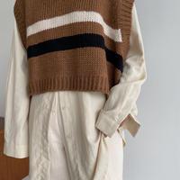 《予約販売》point line knit vest/2colors_nt1079