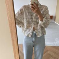 《予約販売》sheer check blouse/2colors_nt0987