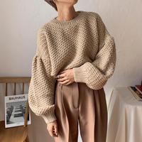 《予約販売》puff sleeve minimal knit/3colors_nt0691