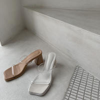 《予約販売》square toe clear sandal/2colors_na0174
