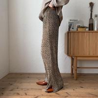 《予約販売》leopard pleats slit pants_np0254