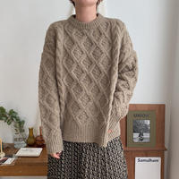 ✳︎予約販売✳︎cable simply knit/2colors_nt0253