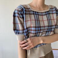 《予約販売》check minimal knit/2colors_nt0343