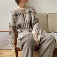 《予約販売》herringbone check over knit/2colors_nt0759