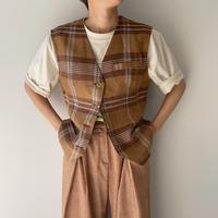 《予約販売》linen check vest/2colors_nt0925