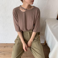 《予約販売》cut out half tee/2colors_nt0357