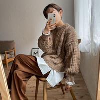《予約販売》melange casual cable knit/2colors_nt0769