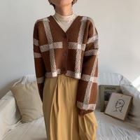 《予約販売》check minimal cardigan/2colors_nt0666
