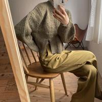 【nokcha original】slit minial cable knit/ khaki_nt0779