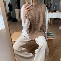 《予約販売》cable knit open vest/2colors_nt0554