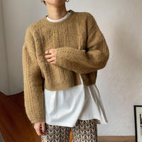 【nokcha original】slit minial cable knit/camel_nt0780