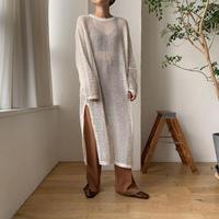 《予約販売》mesh long knit ops/2colors_nd0075