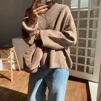 《予約販売》V neck soft knit/2colors_nt0662
