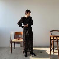 【nokcha original】jacquard sheer dress/black_nd0093