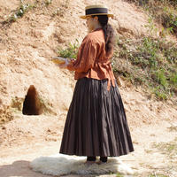 gathered skirt/tart《dark brown -  size M》