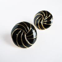 【NAPIER/ネイピア】1955-1965 ブラック×ゴールド エナメル スウェルデザイン ラウンド イヤリング/ヴィンテージ