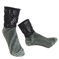 【nonnette】 Marble color fabric combination  Socks    NS235R- 99/ black