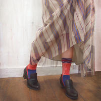 【nonnette】 Various fabrics Socks    NS230Y- 39/ antique orange